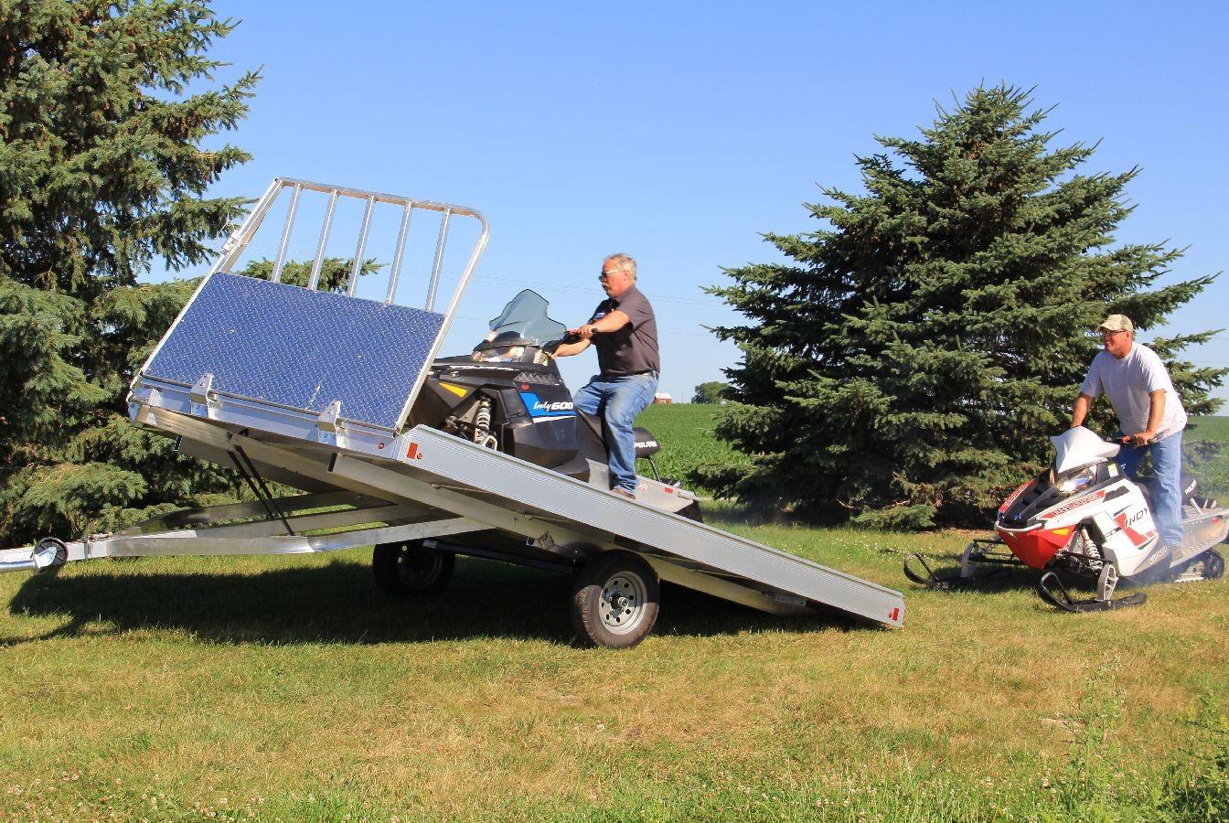 Flat Deck Trailer >> Aluma Aluminum Tilt Deck Snowmobile Trailer