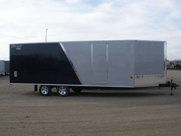 Navy and silver sled trailer with anodized strip