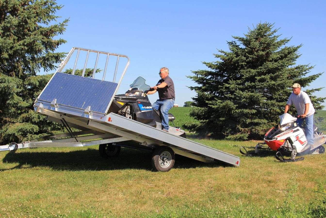 Aluma Aluminum Tilt Deck Snowmobile Trailer